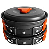 Camping Mess Kit Camping Cookware Pots and Pans Lightweight Backpacking & Hiking Equipment Outdoor Cooking Gear, 10 Piece Cook-set, Durable and Compact, Pots, Bowls and Utensils