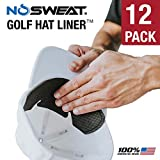 No Sweat Golf Hat Liner & Cap Protection - Moisture Wicking Sweatband Absorbs Dripping Sweat | Helps Prevent Acne, Prevents Hat Stain Rings (12-Pack)
