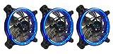 APEVIA 312L-CBL 120mm Silent Dual Rings Blue LED Fan with 32 x LEDs & 8 x Anti-Vibration Rubber Pads (3 Pk)