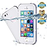 EFFUN Waterproof iPhone 5/5S/SE Case, IP68 Certified Waterproof Underwater Cover Dustproof Snowproof Shockproof Case with Cell Phone Holder, PH Test Paper, Stylus Pen and Floating Strap White