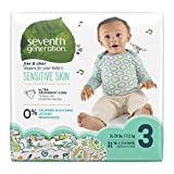 Seventh Generation Baby Diapers for Sensitive Skin, Animal Prints, Size 3, 31 Count (Packaging May Vary)