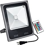 ZHMA RGB LED Flood Light,50W Color Changing Security Light,16 Colors & 4 Modes Floodlight, Remote Control Included,US 3-Plug, Waterproof Wall Washer Light, halloween decorations