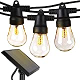 Brightech Ambience Pro Waterproof LED Outdoor Solar String Lights - 1W Vintage Edison Bulbs - 27 Ft Heavy Duty Patio Lights Create Cafe Ambience On Your Porch - Warm White