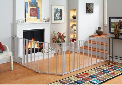 """""""3-in-1 Metal Superyard"""" by North States: Create a free-standing play yard or an extra-wide gate. Hardware mount or freestanding. 6 panels, 10 sq. ft. enclosure (144"""" long, 30"""" tall, Gray)"""