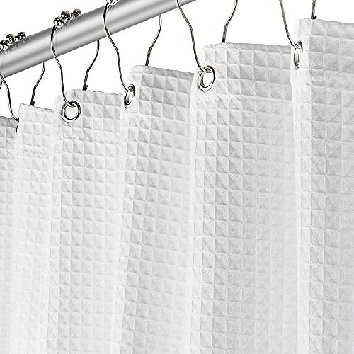 Creative Scents White Fabric Shower Curtain for Bathroom - Spa, Hotel Luxury, Waffle Weave Square Design, Water Repellent, 72' x 72' for Decorative Bathroom Curtains