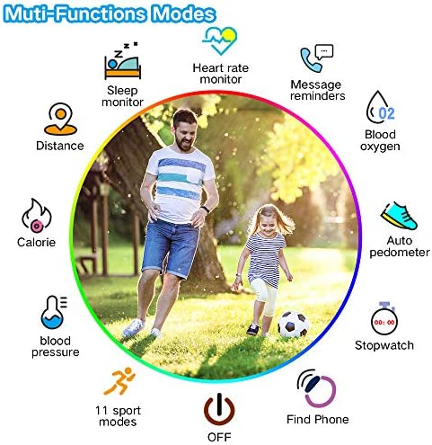 K-berho Slim Fitness Tracker for Kids Women Men,Heart Rate Monitor,IP68 Waterproof Activity Tracker for Boys&Girls,Blood Pressure,11 Sport Modes Health Smart Watch with Pedometer 2