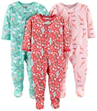 Simple Joys by Carters Girls Toddler 3-Pack Loose Fit Flame Resistant Polyester Jersey Footed Pajamas, Giraffe/Rainbow/Floral, 3T