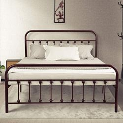 Ambee21 Vintage Queen Metal Bed Frame with Headboard and Footboard – Platform/Wrought Iron/Heavy Duty/Solid Sturdy Metal Slat/Rustic Brown/No Box Spring Needed/Mattress Foundation