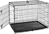 AmazonBasics Single Door Folding Metal Cage Crate For Dog or Puppy - 42 x 28 x 30 Inches