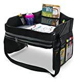 Kids Travel Lap Tray and Desk - Car Seat, Booster Chair, Airplane, Portable, Play Activity Table with Storage - Folding, Travel Snack Trays with Cup Holder for Children
