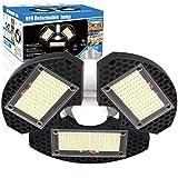 LED Garage Lights, 60w Deformable LED Garage Ceiling Lights 7500 Lumens CRI 80 Led Shop Lights for Garage, Garage Lights with 3 Adjustable Panels, Utility Led Garage Lighting (No Motion Activated) 1PK