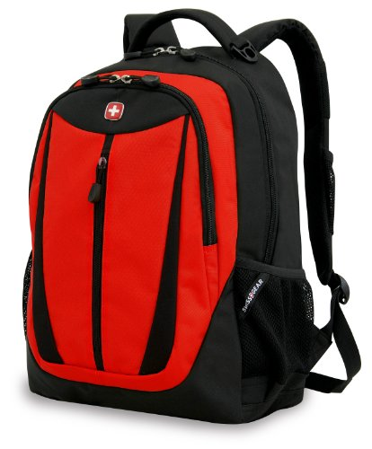 Swiss Gear SA3077 Black with Red Lightweight Laptop Backpack - Fits Most 15 Inch Laptops and Tablets