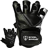 Steel Sweat Workout Gloves - Best for Weightlifting Gym Fitness Training and Crossfit - Made for Men and Women who Love Lifting Weights and Exercise - Leather SCARR Black Medium