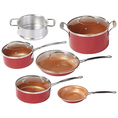 T-fal BulbHead Red Copper Ceramic Cookware