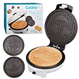 Emoji Waffler & Pancake Maker w Interchangeable Plates - Choose either 8' Diameter Smiley Face Waffles OR Pan Cakes - Non-stick Electric Griddle Iron