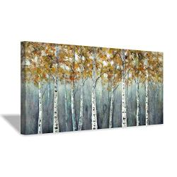 """Abstract Tree Picture Wall Art: Birch Forest Artwork Hand Painted Texture Painting on Canvas for Wall Decoration (40"""" x 20"""" x 1 Panel)"""