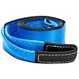 """Driver Recovery 3"""" x 8' Tow Strap - Recovery Winch Tree Saver - Extreme Heavy Duty Nylon 30,000 Pound (15 Ton) Pulling Capacity - Blue"""