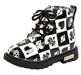 DADAWEN Boy's Girl's Waterproof Side Zipper Lace-Up Ankle Boots (Toddler/Little Kid/Big Kid) Black/White(Poker) US Size 5.5 M Toddler