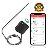 NutriChef Smart Bluetooth BBQ Thermometer - Upgraded Stainless Probe Safe to Leave in Grill, Outdoor Barbecue or Meat Smoker - Wireless Remote Alert iOS Android Phone WiFi App - PWIRBBQ40