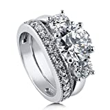 BERRICLE Rhodium Plated Sterling Silver Round Cubic Zirconia CZ 3-Stone Anniversary Engagement Wedding Ring Set 3.6 CTW Size 9