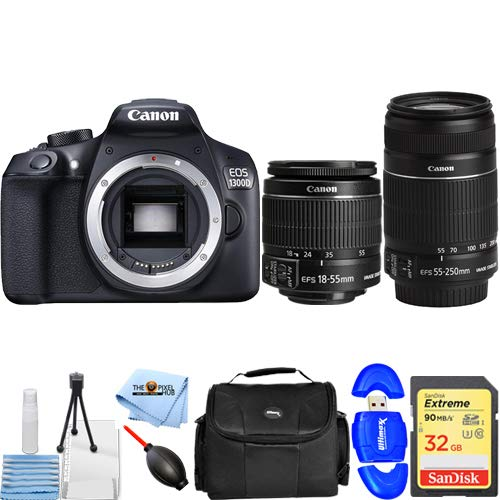 Canon-EOS-1300D-Rebel-T6-DSLR-Camera-with-18-55mm-and-55-250mm-Starter-Bundle-Includes-32GB-SD-Memory-Card-Reader-Gadget-Bag-Microfiber-Cloth-and-Cleaning-Kit-International-Version