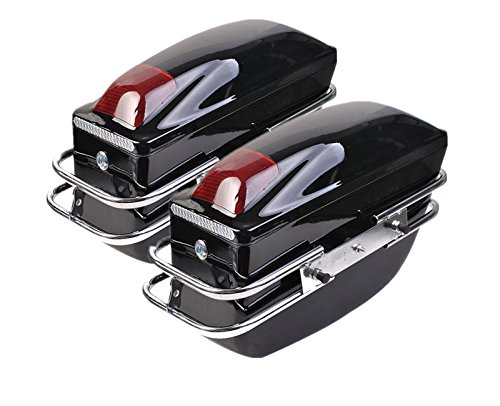 Comie 2 Pcs Motorcycle Cruiser Hard Trunk SaddleBags Luggage w/Lights Mounted Chrome Rail Bracket Black