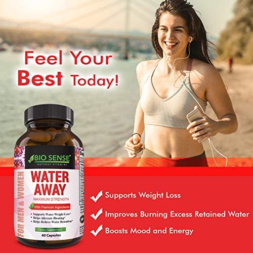 Natural Diuretic Water Away Pills Vitamin B6 Potassium & Dandelion Root Extract Water Retention Anti-Bloating and Swelling Capsules Weight Loss for Women & Men with Antioxidant Green Tea by Bio Sense 9
