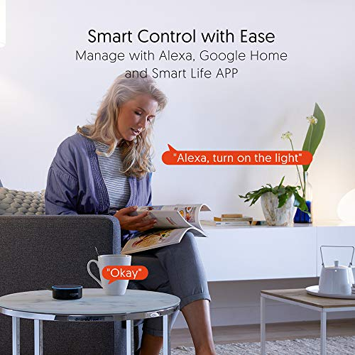Smart Plugs That Work with Alexa, TECKIN 15A Alexa Smart Plugs with Remote Control, Schedule and Timer Function, FCC ETL Certification, No hub Require, 4 Pack 15