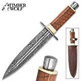 Timber Wolf King's Realm Dagger - Damascus Steel Blade, Wooden Handle, Damascus Pommel and Guard, Brass Accents - Length 14'