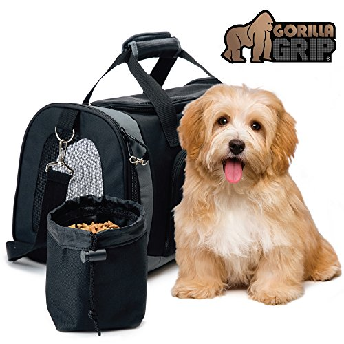 Gorilla Grip Original Pet Travel Carrier Bag for Dogs or Cats, Free Bowl, Durable, Locking Safety Zippers, Airline Approved, Up to 15lbs, Sherpa Insert, Dog, Airplane, Train, and Car Travel 1