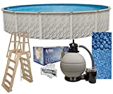 Meadows 27-Foot-by-52-Inch Round Above-Ground Swimming Pool Complete Bundle Kit | Boulder Swirl Pattern Overlap Liner | A-Frame Ladder System | Filter Tank | 1-HP Pump | Wide-Mouth Skimmer