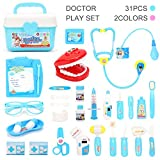 Toy Doctor Kit (31 Pcs) Pretend Play Set for Kids, Doctor Medical Kit and Dentist Medical Kit, Best Kids Gifts Doctor Toys for Boys & Girls - Blue/Pink Colors
