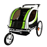 Clevr Green Collapsible 2 Seats 3-in-1 Double Bicycle Trailer Baby Bike Jogger/Stroller Jogging Running Kids Cart Bike | Suspension & Pivot Front Wheel
