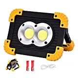 ZXLN Portable LED Work Light, COB LED Work Light 20W, Rechargeable Outdoor Work Light, 4000mAh Power Bank for Hiking, Car Repairing, Builtin SOS Emergency Mode (Free 2X18650 Lithium Batteries)