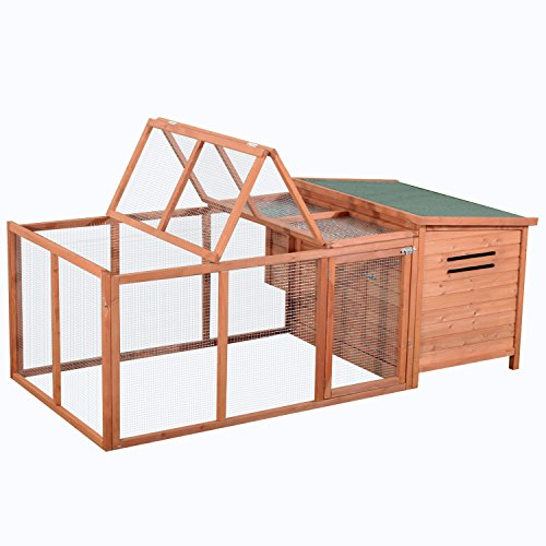 Pawhut Deluxe Wooden Chicken Coop with Backyard Outdoor Run, 87'