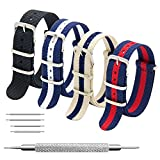 CIVO NATO Strap 4 Packs - 20mm 22mm Premium Ballistic Nylon Watch Bands Zulu Style with Stainless Steel Buckle (Black+Navy Red+Linen Navy+Navy White, 20mm)