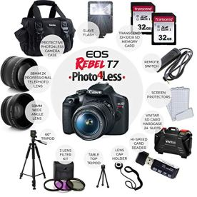 Canon-EOS-Rebel-T7-Digital-SLR-Camera-with-18-55mm-EF-S-f35-56-is-II-Lens-58mm-Wide-Angle-Lens-2X-Telephoto-Lens-Flash-64GB-SD-Memory-Card-UV-Filter-Kit-Tripod-Full-Accessory-Bundle