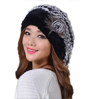 YRLOVE Fashion Ladies Real Rex Rabbit Fur Kintted Winter Warm Beret Hat
