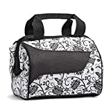 Fit & Fresh Women's Downtown Insulated Lunch Bag with Zipper Closure and Exterior Pocket, Stylish Adult Lunch Box for Work, Ebony Floral