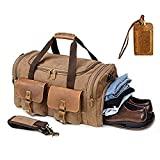 Kemy's Canvas Duffle Bag for Mens Oversized Overnight Bags Weekend Duffel Weekender Travel Bags Leather Doufle Gym Carryon Airplanes Carry On Luggage with Shoe Compartment Large Easter Gifts