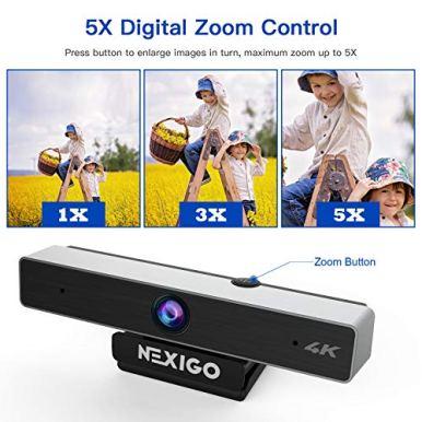 4K-Webcam-with-5X-Digital-Zoom-2021-NexiGo-N950-Pro-Webcam-with-85MP-Sony-Senor-and-Dual-Stereo-Microphone-Light-Correction-for-Zoom-Skype-MS-Teams-Laptop-MAC-PC-Desktop