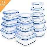 Enther 26 Pieces 13 PACK Glass Food Storage Containers Meal Prep with Lids Airtight Bento Box for Lunch Oven/Freezer/Dishwasher/Microwave Safe Leakproof, 7 to 52 oz, Clear
