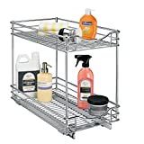 Lynk Professional Double Shelf and Pull Out Two Tier Sliding Under Cabinet Organizer, 11w x 21d x 16h-inch, Chrome