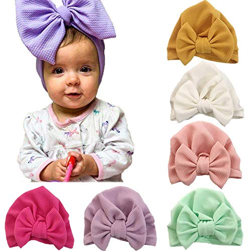 Adeimoo Baby Girl Hat with Bow Infant Solid Soft Knotted Hats Cute Toddler Cap Turban Headwarp (6 Pack Knot Bow / 6-36 Month)