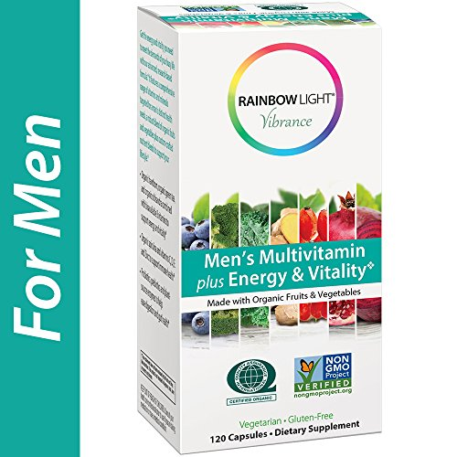 Rainbow Light Vibrance Men's Multivitamin Plus Energy & Vitality, 120 Count Capsules, Dietary Supplement Made with Organic Fruits & Vegetables