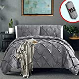 Vailge 3 Piece Pinch Pleated Duvet Cover with Zipper Closure, 100% 120gsm Microfiber Pintuck Duvet Cover, Luxurious & Hypoallergenic Pintuck Decorative (Grey,California King)