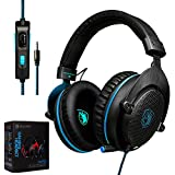 CXCase 2017 SADES CX-778 PS4 Xbox One 3.5mm Gaming Headset Over-Ear Gaming Headphones With Mic, Volume Control, Noise Cancelling, Headphone Case For PC, Smart Phones, Tablet, Laptops - Black Blue