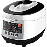 Pressure Cooker with Digital Display, 5 Liter - 8 in 1 Multiple Cooking Options - Includes Measuring Cup, Rice Paddle, Ladle & Steam Rack - By Keyton