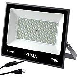 ZHMA 150W LED Flood Light, Super Bright Outdoor Security Lamp, 12000lm Work Lights, 6500k White Light Bulb, IP66 Waterproof Outdoor Floodlights Landscape for Garden,Garage, Lawn, Yard, Playground.