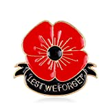 lauhonmin Lest We Forget Poppy Brooch Pin Flower Broach Memorial Day Remembrance Day